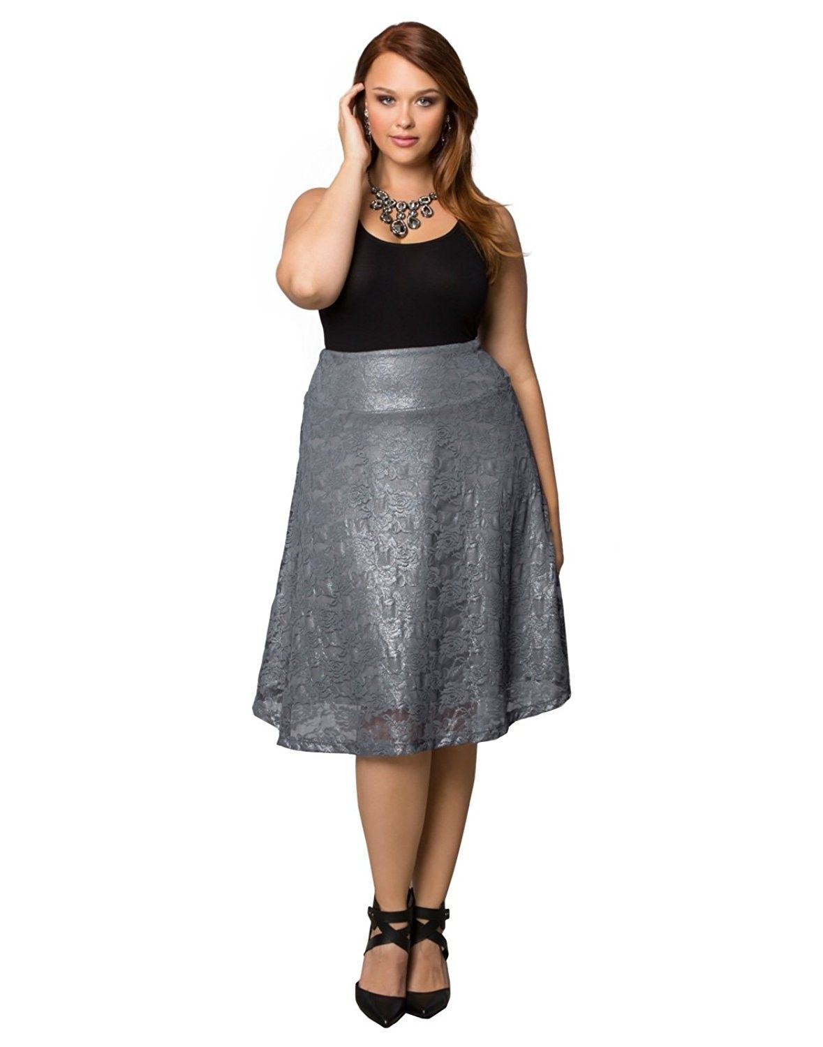 5857be2acb Kiyonna Women's Plus Size Limited Edition Shimmer Circle Skirt ...