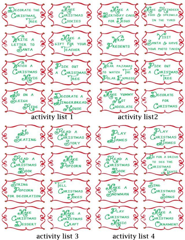 100 Fun Advent Calendar Countdown Activity Ideas Free Printables Advent Calendar Activities Christmas Advent Calendar Calendar Activities