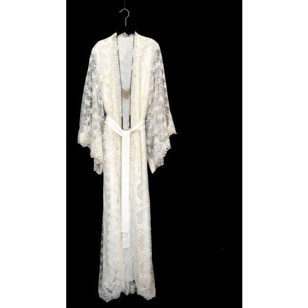 2551509652 Lace Kimono Robe Full Length Lace Robe Wedding Lace Kimono Lined Lace... (