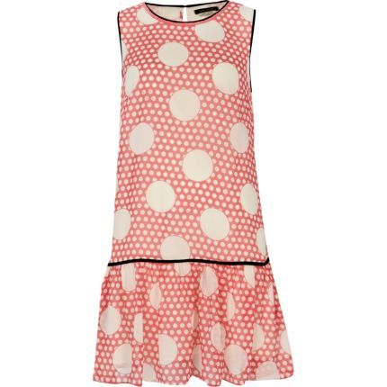 Coral polka dot drop waist dress - day dresses - dresses - women