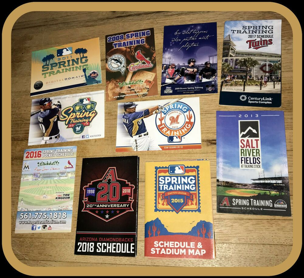 Lot Of 10 Different Spring Training Baseball Schedules Mets Cards Twins Brewers Pocket Schedule In 2020 Spring Training Baseball Spring Training Mlb Spring Training