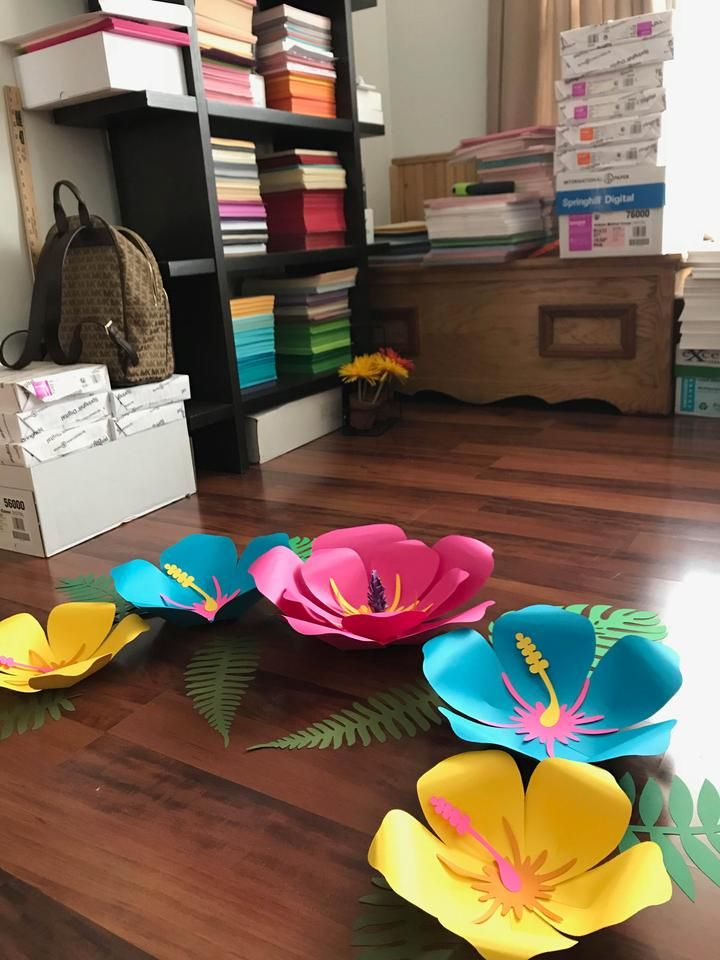SVG PNG DXF Petal 101 (Hibiscus) Paper Flower Template - DIY Cricut and Silhouette machines ready-2 center components included #giantpaperflowers