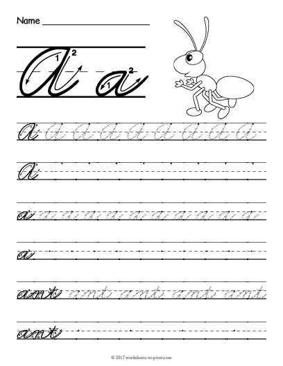 Free Printable Cursive A Worksheet Cursive Writing Worksheets Cursive Handwriting Worksheets Cursive Practice Sheets