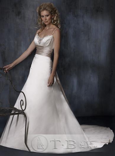 Spaghetti Wedding Dresses Brown Band Sweetheart