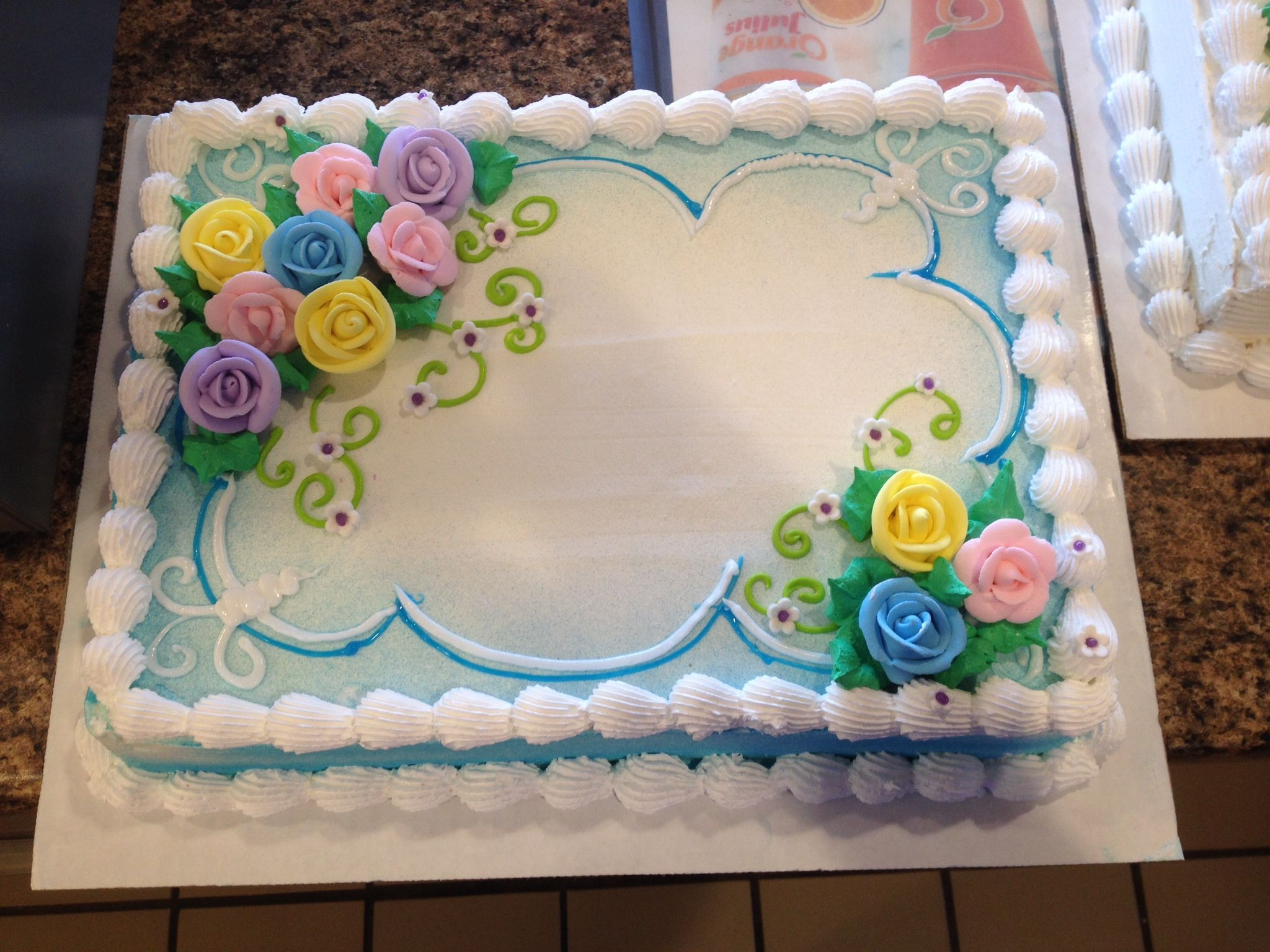 Dq Cakes Dairy Queen Floral Sheet Cake Sheet Cake Designs Cake Decorating Birthday Sheet Cakes