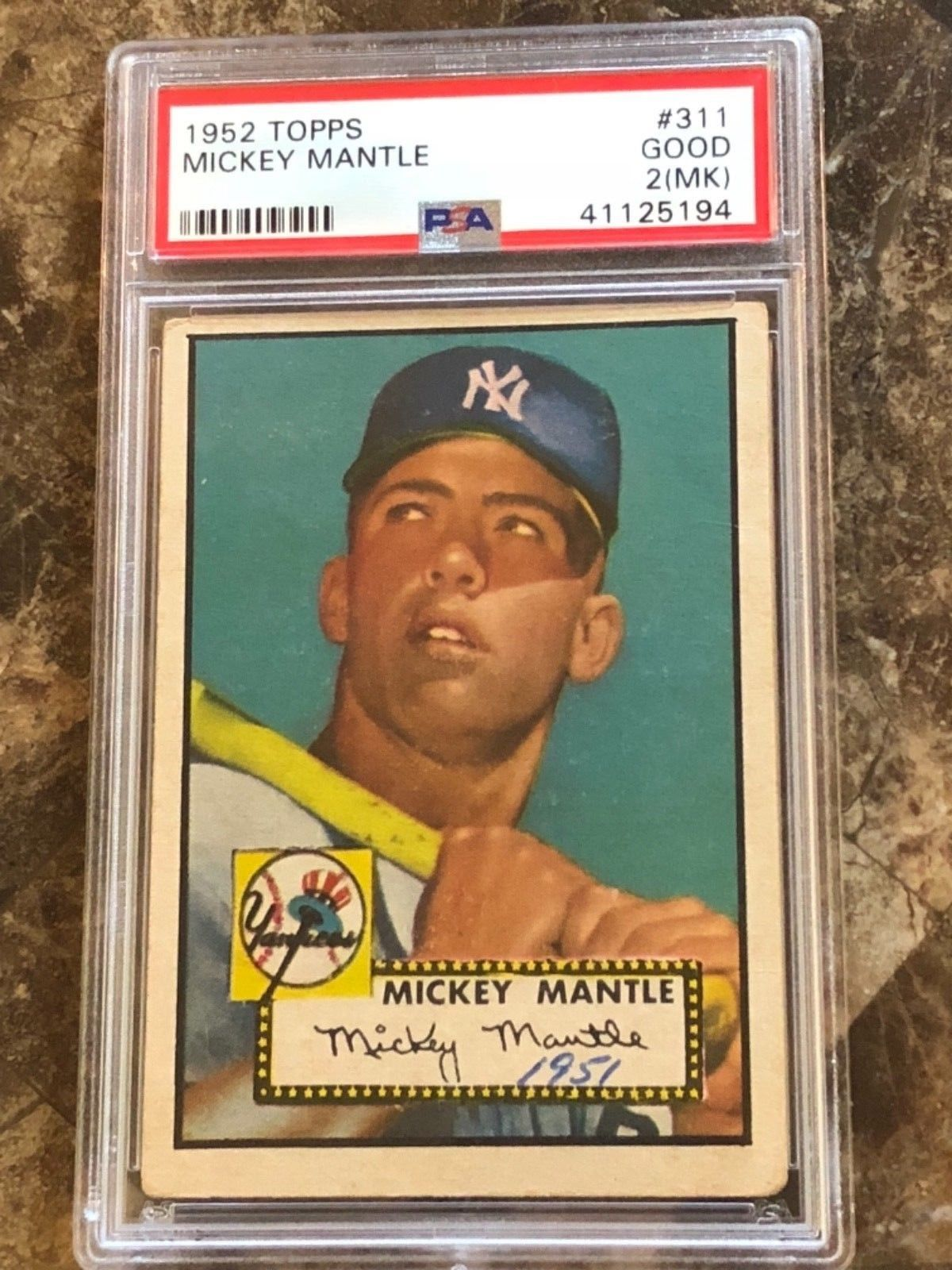 1952 Topps 311 Mickey Mantle Psa 2 Mk Nice Centering Eye Appeal 1952topps Mantle Old Baseball Cards Mickey Mantle Rare Baseball Cards