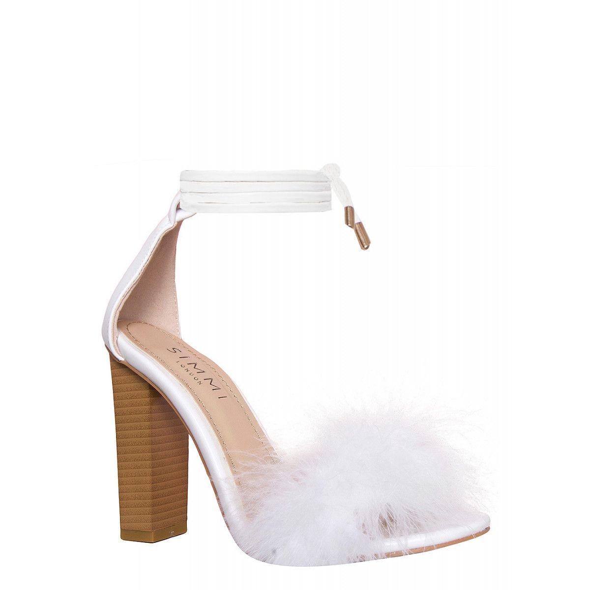 e06eedeee95 Tayen White Fluffy Lace Up Block Heels   Simmi Shoes