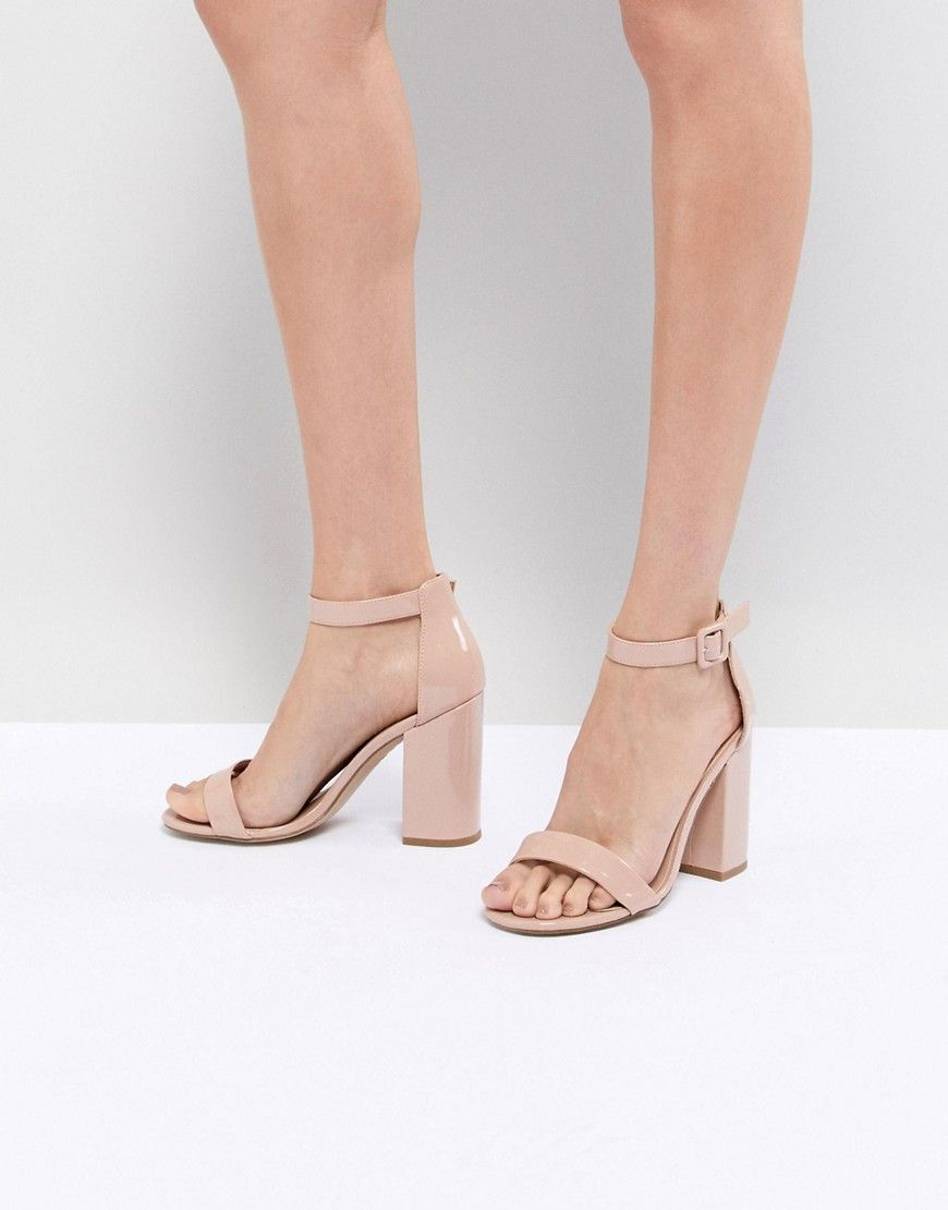 New Look Barely There Patent Block Heel Sandal Beige Block Heels Sandal Outfit Heels Sandals Heels