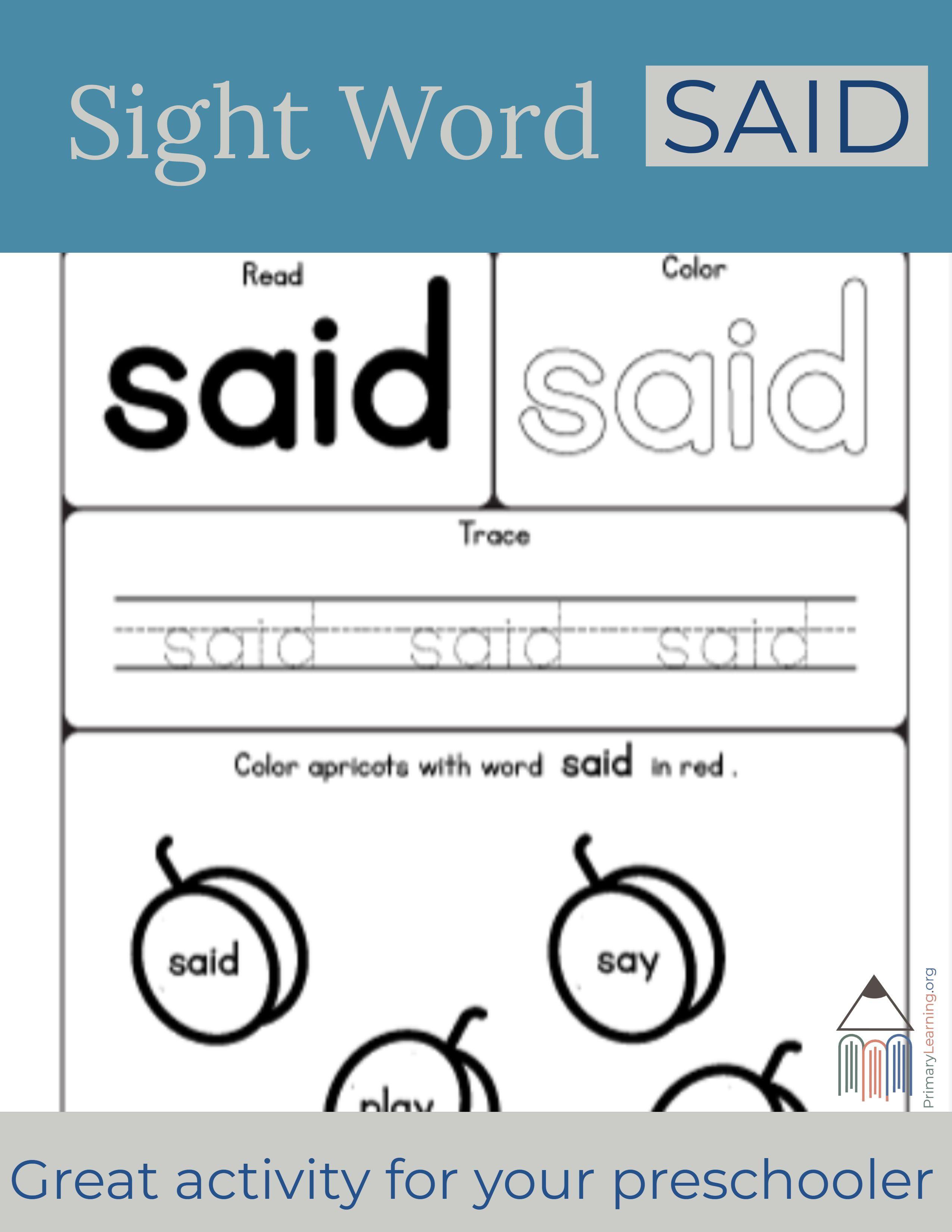 Sight Word Said Worksheet