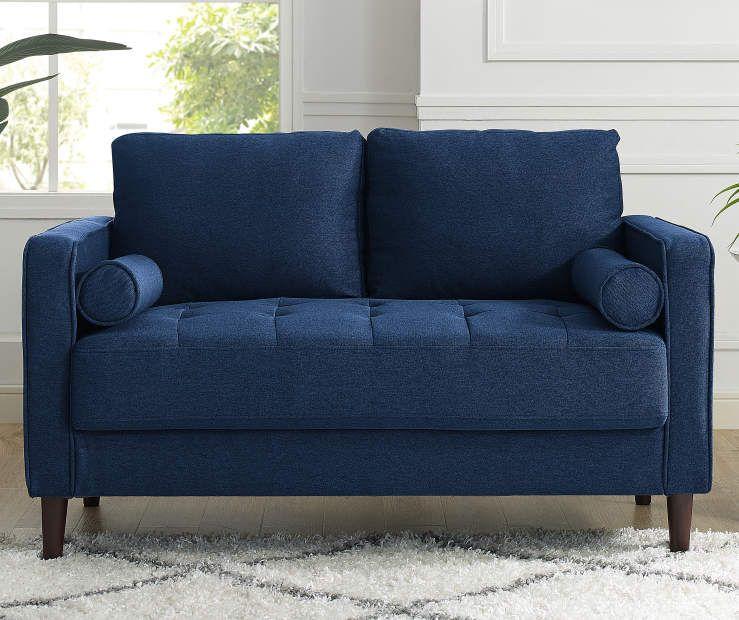 Best Lillith Navy Blue Mid Century Loveseat Love Seat Mid 400 x 300