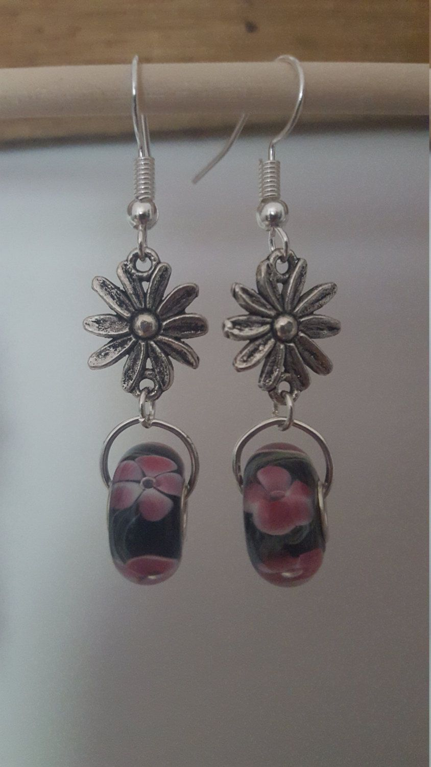 Pandora style murano flower beads by MaudeArt on Etsy