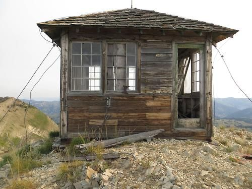 abandoned fire lookout on Deadman Mountain in Wyoming