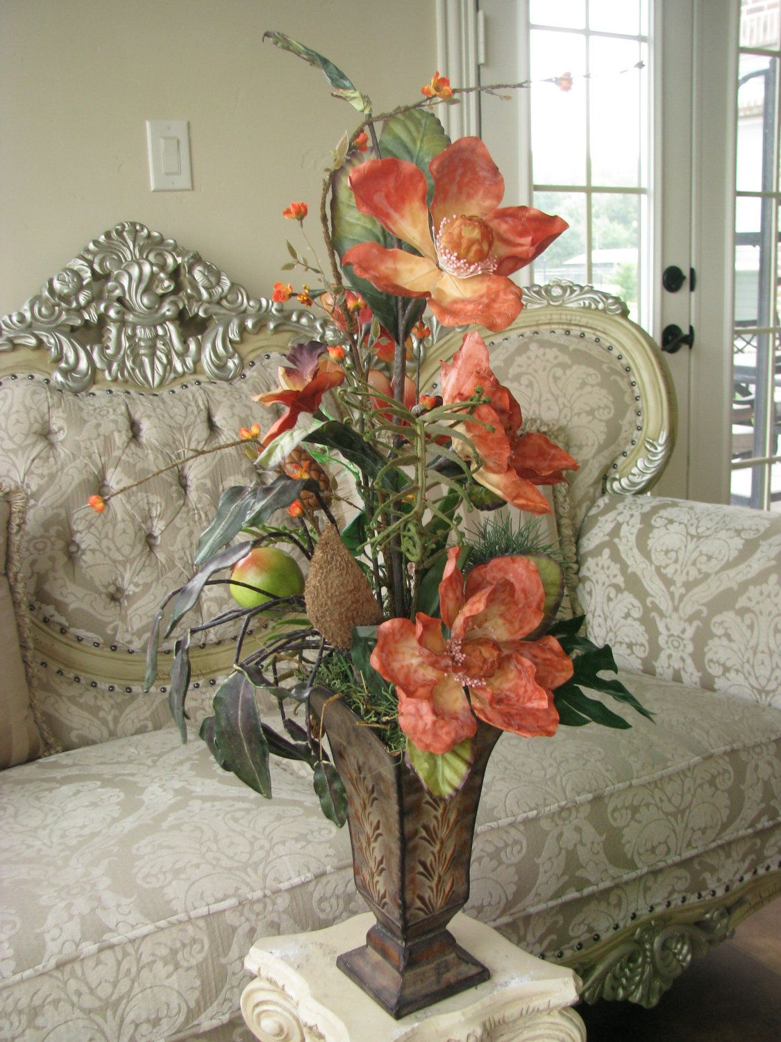 40 Off Silk Flower Arrangement Orange Exotic In Tall Narrow Tin