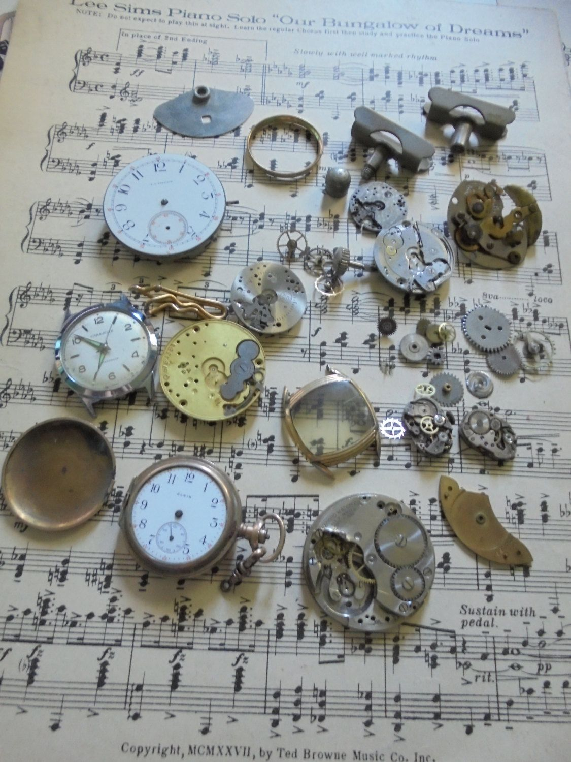 Destash lot of old watch parts and pieces for jewelry and crafting by salvagegardener on Etsy