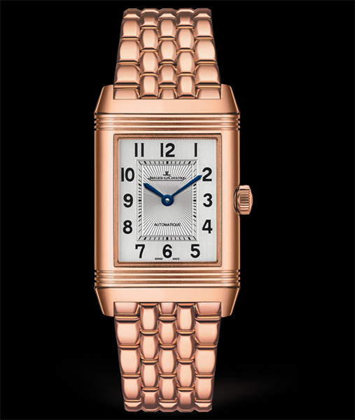 Jaeger-LeCoultre Reverso Classic Medium Duetto, dual time zone GMT. 18 karat rose gols, silver toned dial, available at Cellini Jewelers