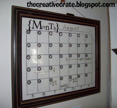 Make a Picture Frame Calendar Use Dry Erase markers on glass No