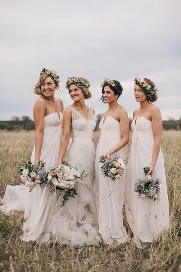 Beautiful Off White Bridesmaids Dresses And Fresh Fl Crowns