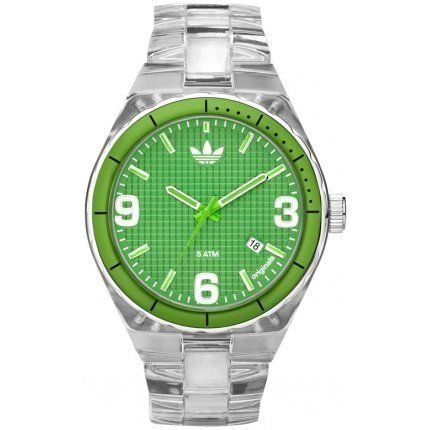 Cambridge Green Textured Dial Clear Plastic adidas. $75.00