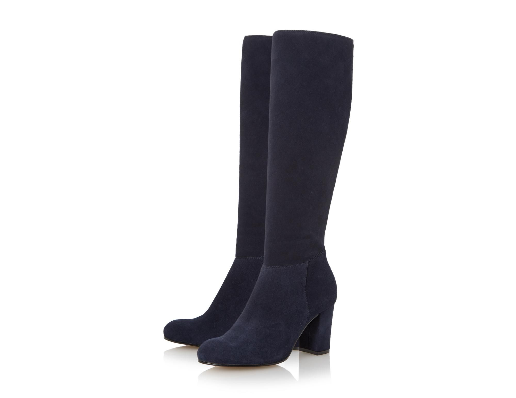 Dune London Toulon Navy Knee High Block Heel Suede Boot