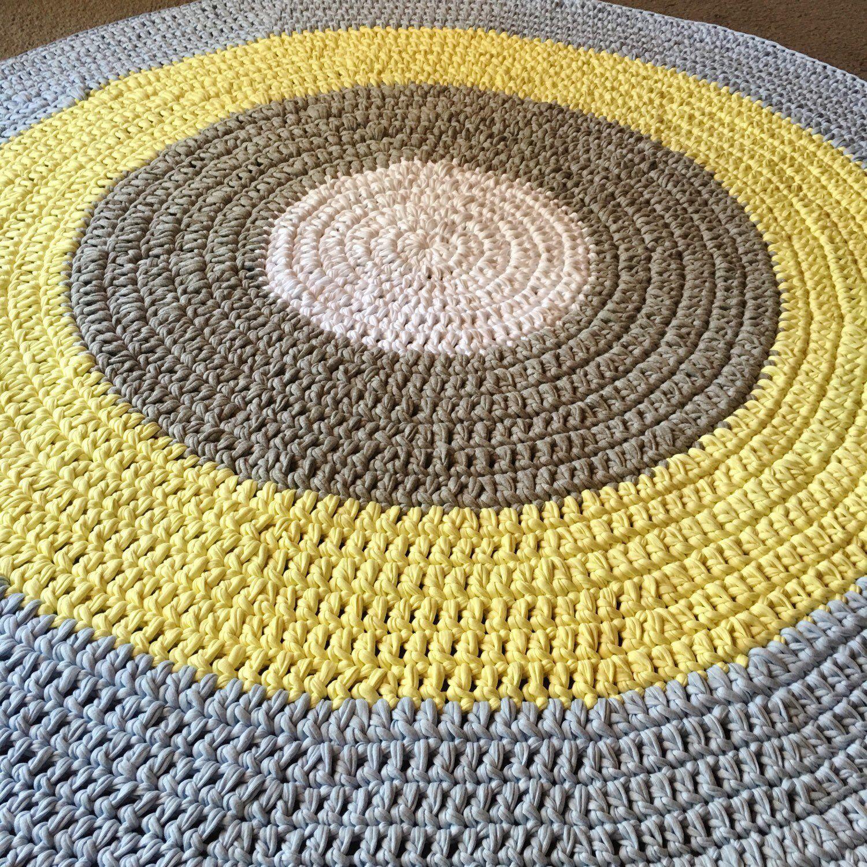 Yellow Grey And White Floor Rug Nursery Rug Handmade Home