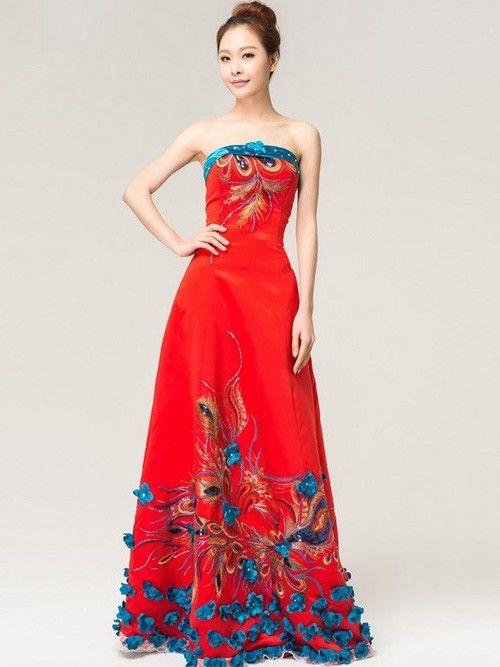 09ba9de3e8 Red Bandeau Qipao   Chinese Wedding   Prom Dress by AnneF Cheongsam Dress