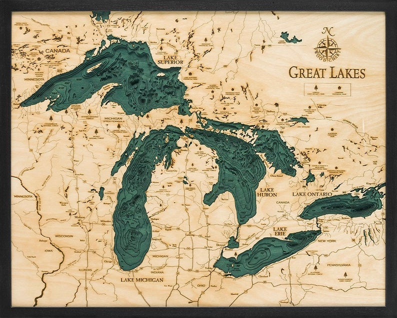 Great Lakes Wood Carved Topographical Depth Chart Map Etsy Great Lakes Map Lake Map Great Lakes