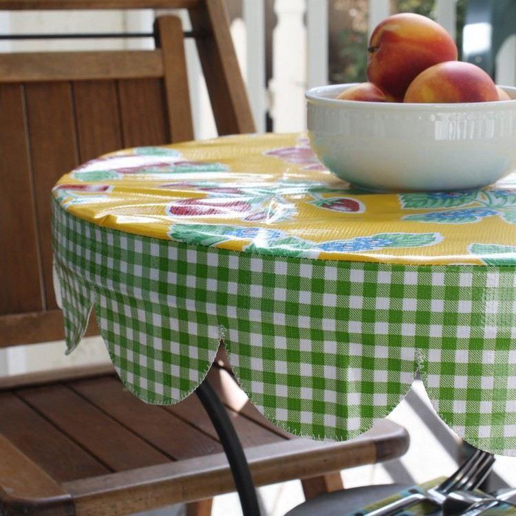 Nahen Mit Wachstuch Runde Tischdecke Fur Den Gartentisch Runde Tischdecke Tisch Eindecken Tischdecke Rund