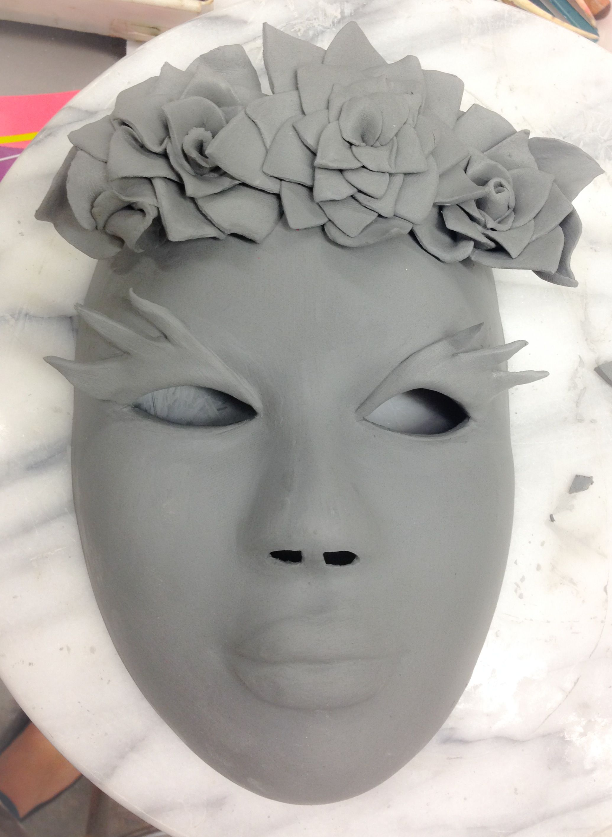 Wet Clay Ceramic Day of the Dead Halloween Mask made by M. Rains ...