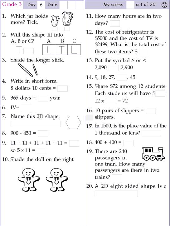 mental math grade 3 day 6 mental math mental maths worksheets math sheets math worksheets. Black Bedroom Furniture Sets. Home Design Ideas