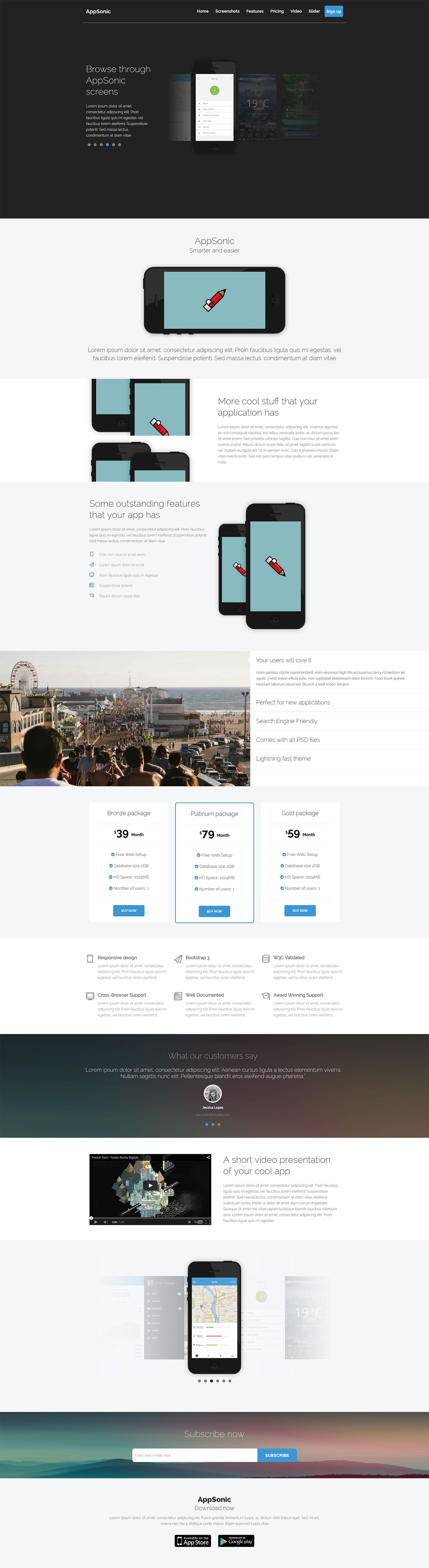 AppSonic Clean HTML Business App Landing Page for iPhone