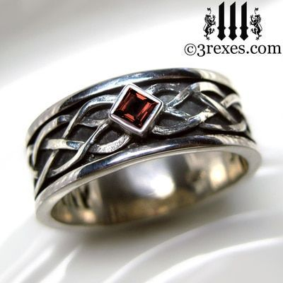 Celtic Knot Silver Soul Ring Gothic Stone
