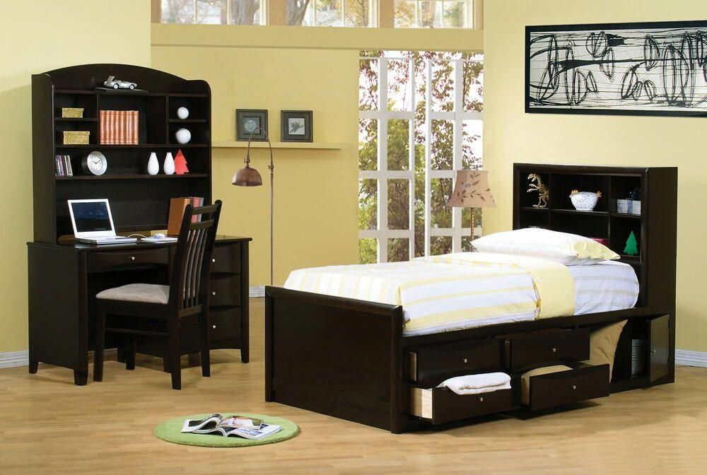 400180T 5 pc phoenix espresso finish wood twin bed set with storage