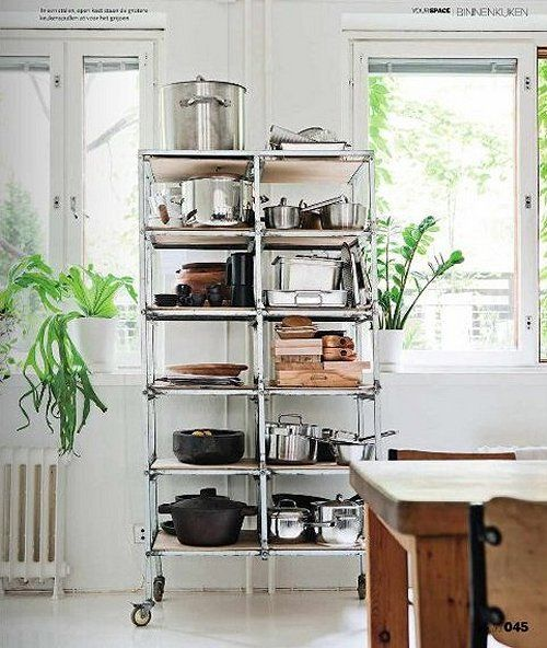 15 ideas para decorar con estanter as met licas estante - Estanterias para cocina ...