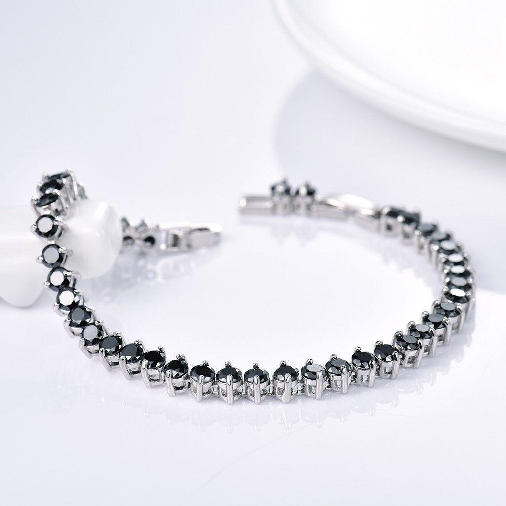 aud women black sapphire beads crystal promise silver tennis