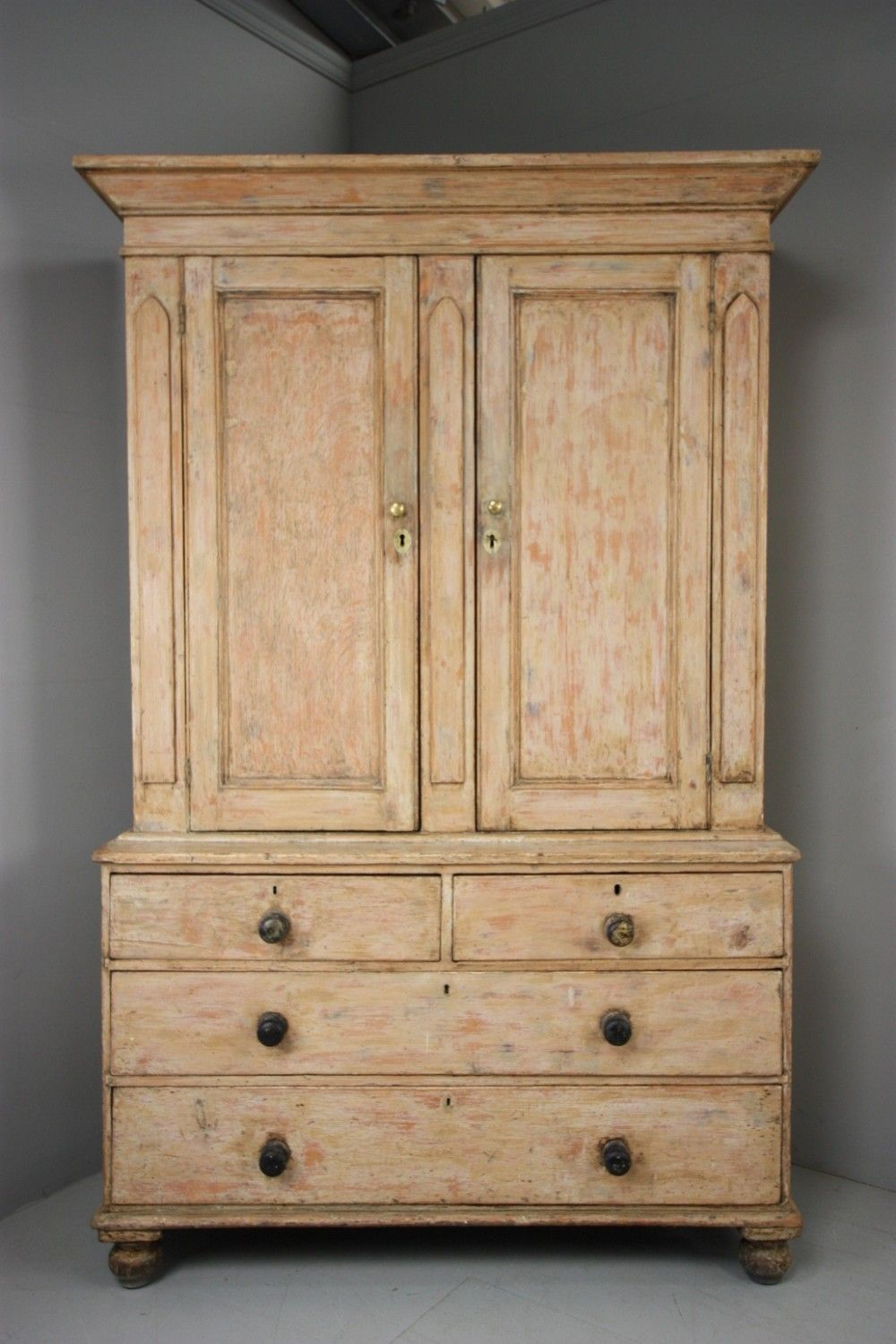 Casagiardino English Antique Painted Pine Housemaids Cupboard Raw Wood Furniture Design