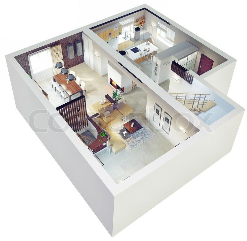 Plan View Of An Apartment Ground Floor Clear 3d Interior Design Stock Photo Colourbox 3d Interior Design Apartment Floor Plans Apartment Layout