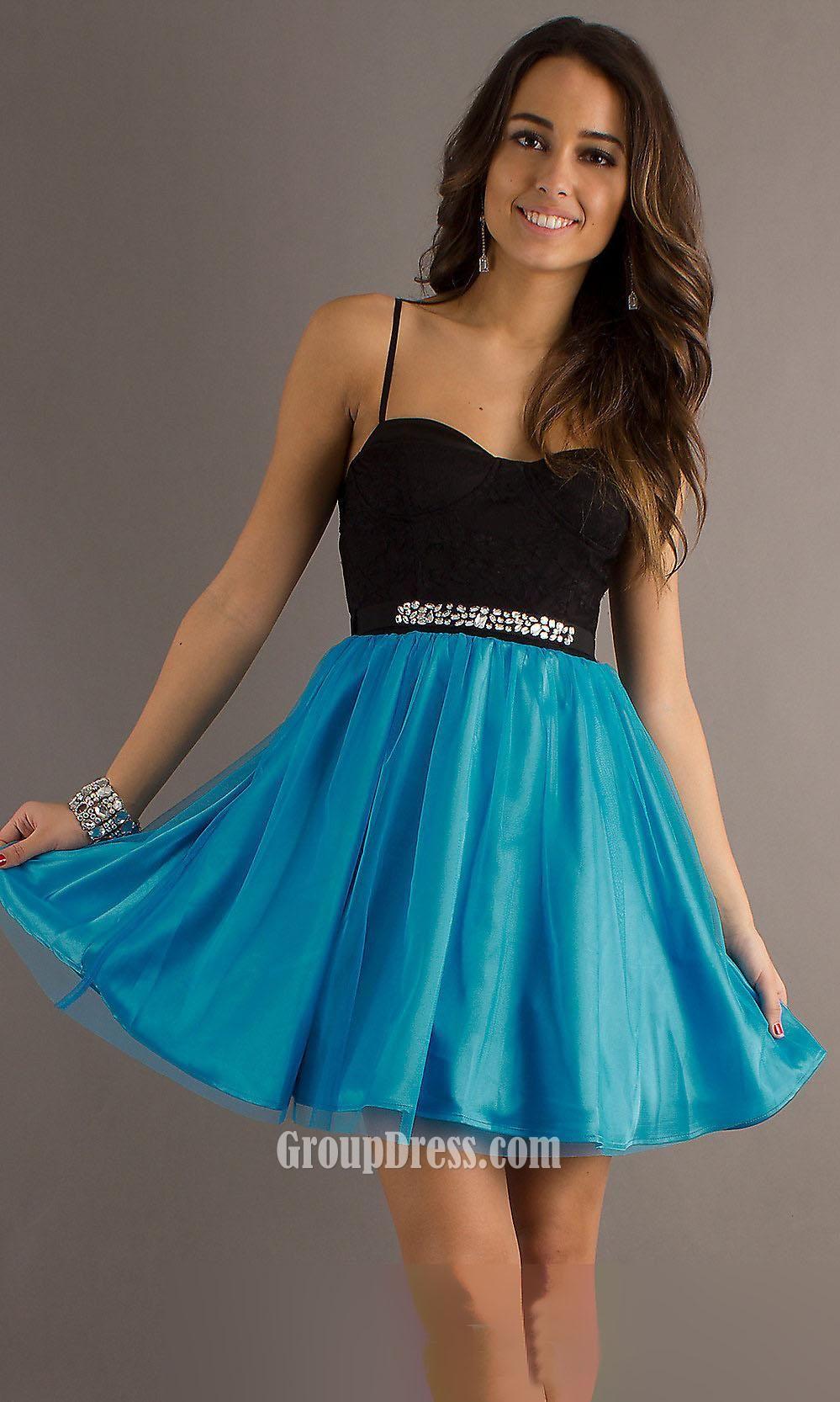 Short spaghetti strap prom dresses - Dress style