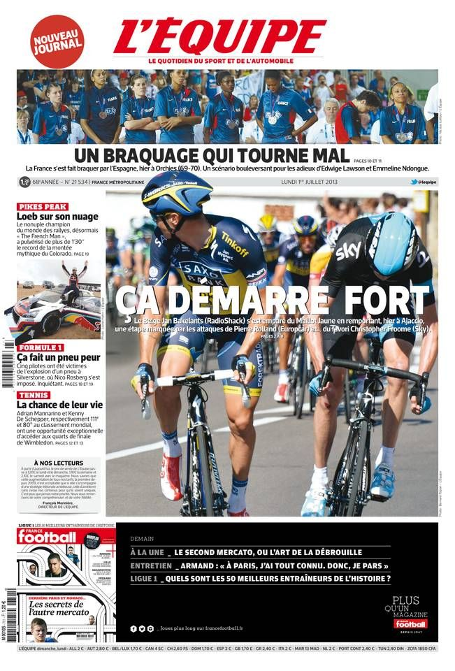L'Équipe - Lundi 1er Juillet 2013 - N° 21534