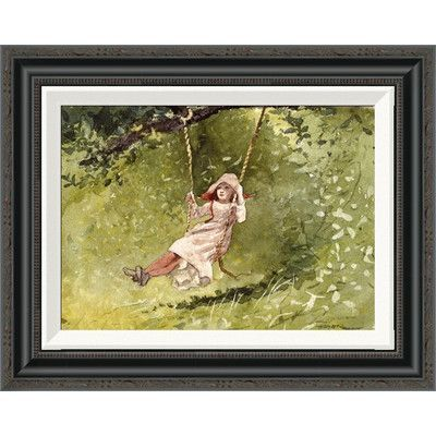 """Global Gallery 'Girl on a Swing' by Winslow Homer Framed Painting Print Size: 17.48"""" H x 22"""" W"""