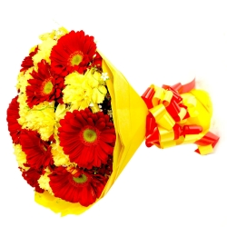 Your Gift Includes Type Of Flowers Carnations And Gerbera Daisiescolor Yellow And Rednumber Of Stems 25 Yell Yellow Carnations Gerbera Bouquet Carnations