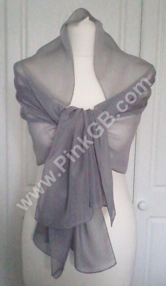 a4a55e48a21 SILVER Grey Soft Plain Evening CHIFFON SHAWL, Scarf, Wrap, Stole ...