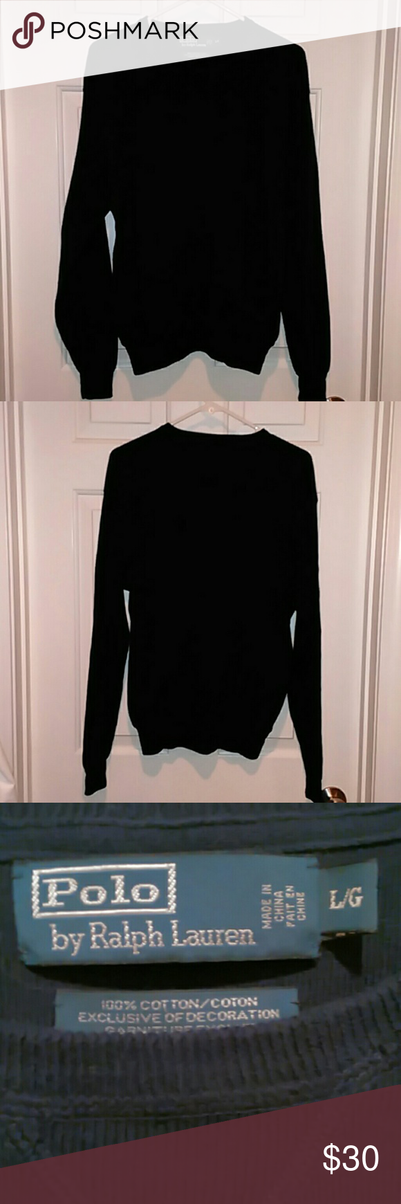 Polo by Ralph Lauren sweater Navy blue long sleeve crewneck Polo sweater with the iconic logo over the heart. Size Large, like new. Polo by Ralph Lauren Sweaters Crewneck