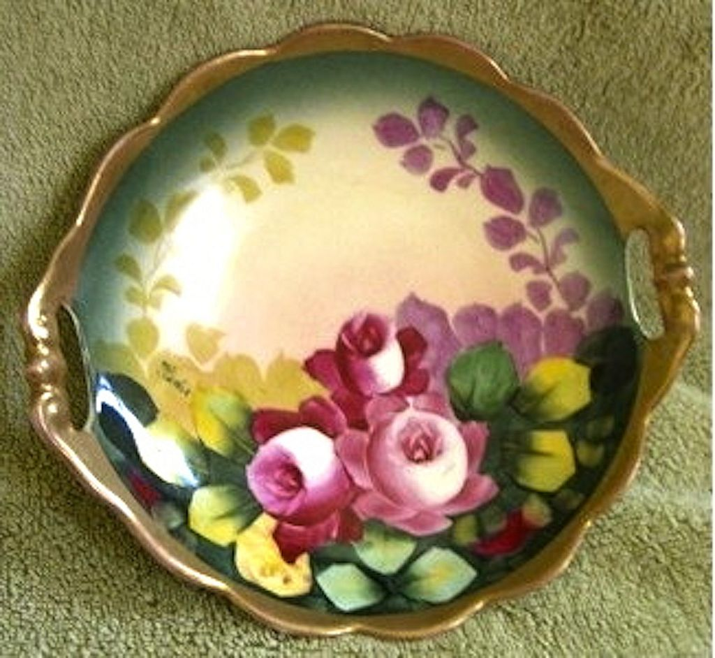 Vintage Hand Painted Porcelain Carlsbad Austria Dish Plate Roses ...