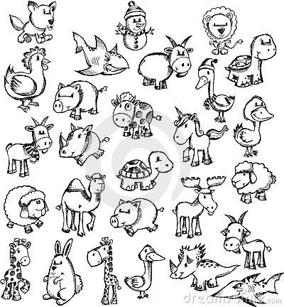Doodle sketch animal set inspiration for baby items for Cute little doodles to draw