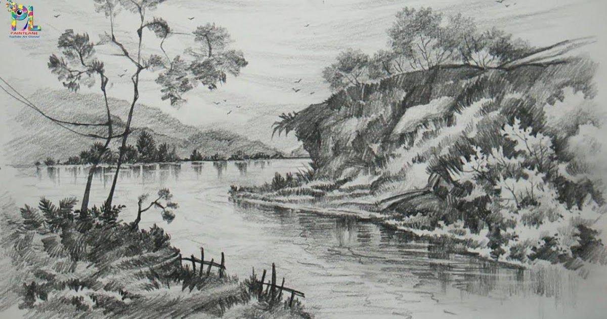 Fantastis 30 Foto Pemandangan Indah Sketsa Contoh Sketsa Gambar Pemandangan Sungai Yang Indah Pesona Download Sketsa Gam Di 2020 Pemandangan Gambar Gambar Pensil