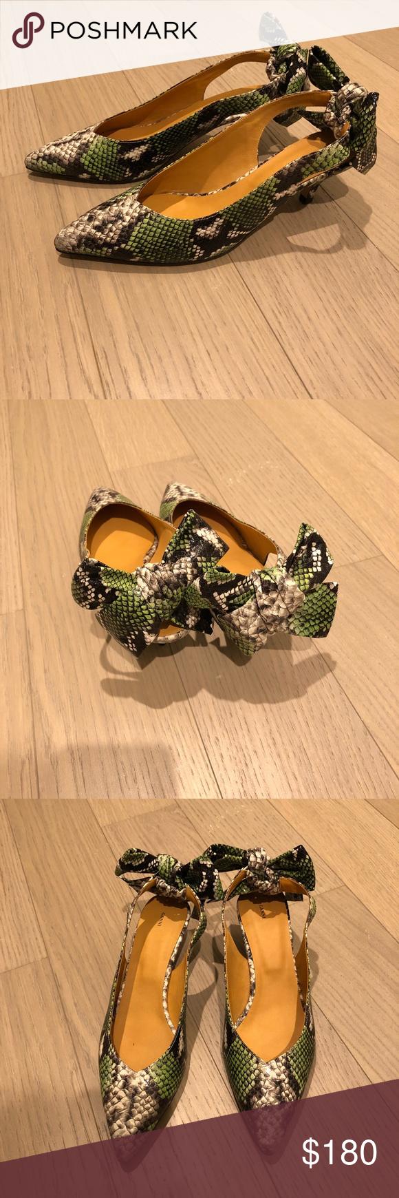 Ganni Sabine Kitten Heels In Green Snake Print Kitten Heels Heels Snake Print