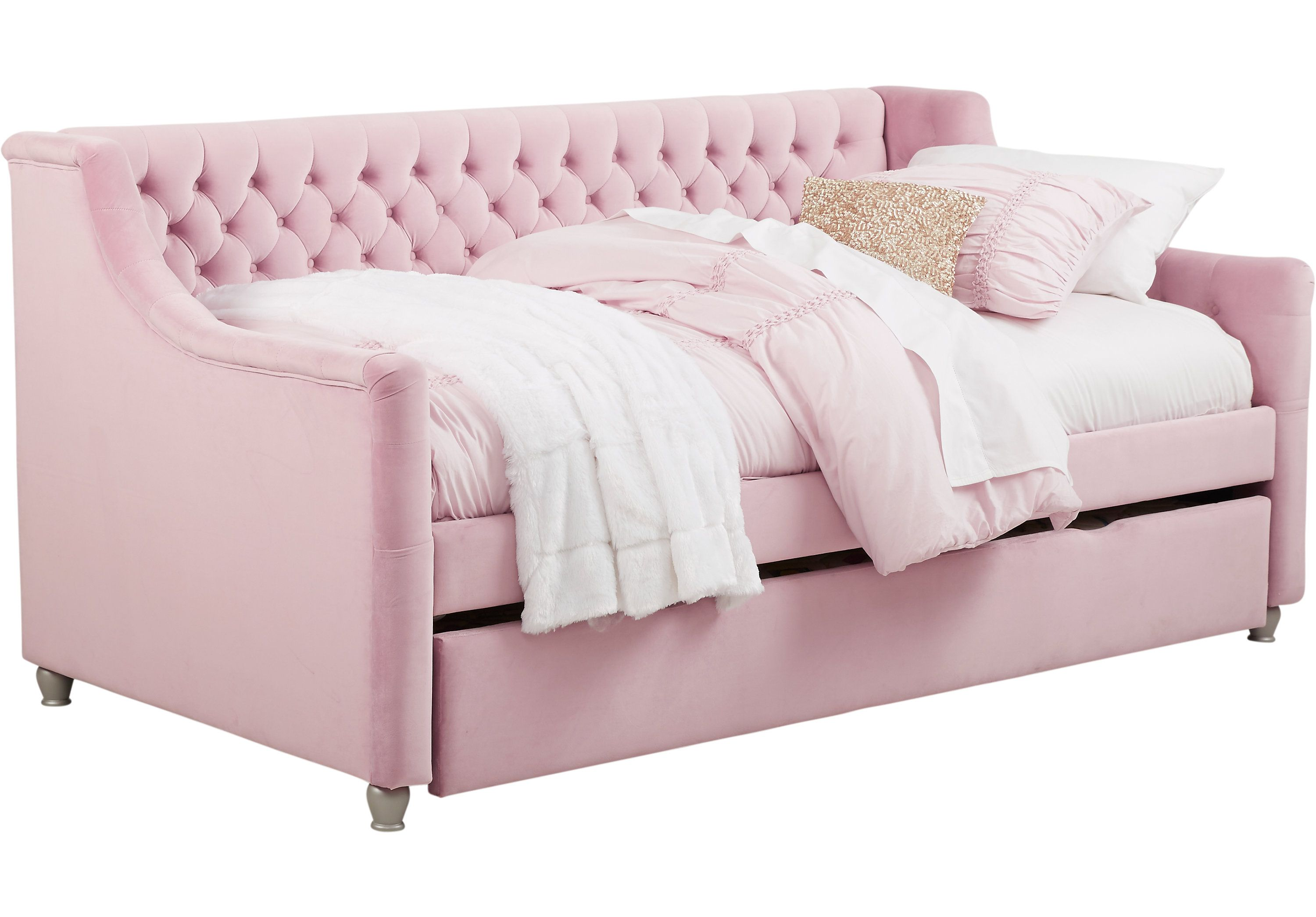 Alena Pink 3 Pc Full Daybed With Trundle Trundle Beds Colors