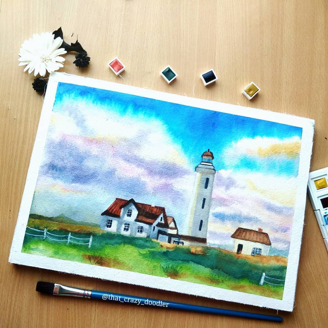 Watercolor Landscape Using Vangogh Watercolor Cakes Learnt From