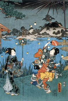 Firefly Hunting by Utagawa Kunisada, 19 Century woodblock print, Japan, © V and A Images/Victoria and Albert Museum, London