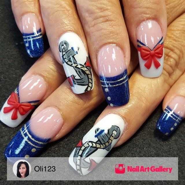 Sailor Nails by Oli123 via Nail Art Gallery #nailartgallery #nailart ...